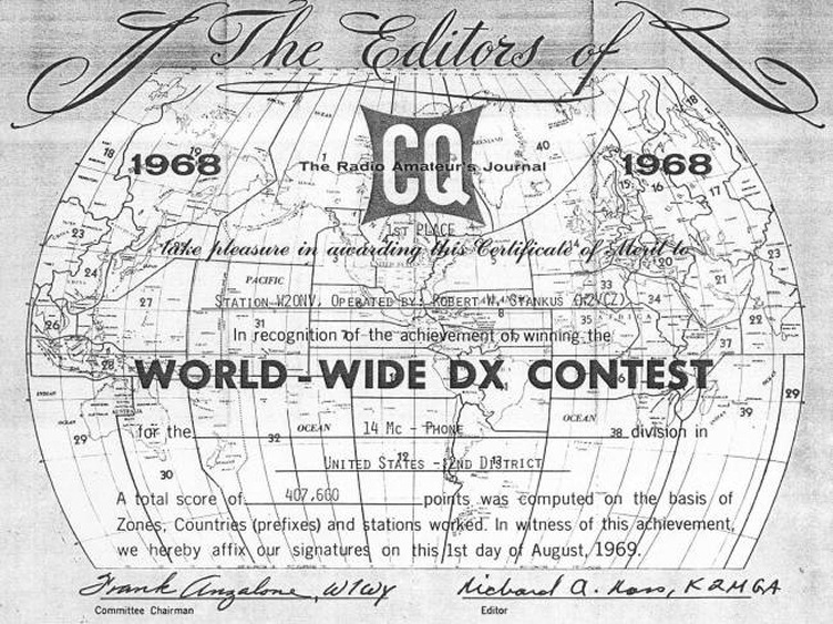 The W2ONV 1968 World Wide DX Award!