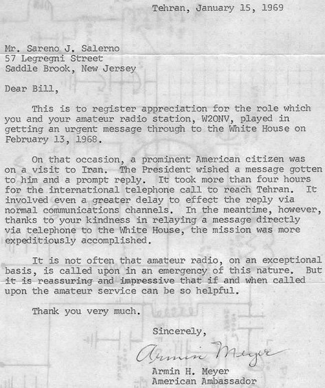 Here's a letter from the Iran Embassy in 1969!